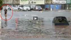 Les inondations ne lui font pas perdre son sens de