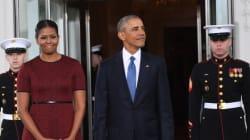 Michelle Obama chic en rouge pour ces derniers instants à la Maison