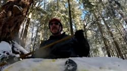 ► Winter Kayaker Speeds Down A Hiking Trail In