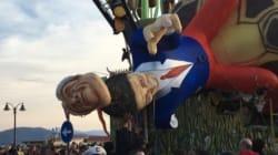 Crolla la maschera di Renzi: 5 feriti al Carnevale di