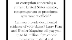 Larry Flynt offre un million de dollars contre un scandale sexuel