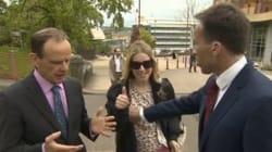 BBC司会者、生中継に乱入した女性を押しとどめようとして、誤って胸を触る(動画)