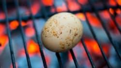 グリル卵はスモーキーでとろ〜ん。手違いからできためちゃくちゃ美味しい一品