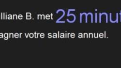 Combien lui faut-il de minutes pour gagner votre salaire