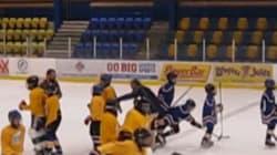 'Tripping' Hockey Coach 'Burned