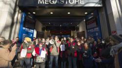 Grève au Virgin Megastore des