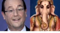 Hollande en Inde : un dieu éléphant lui ressemble