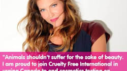 Actress Tricia Helfer Urges Canada to End Cosmetics Testing on