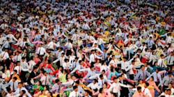 Mesmerising Photos Show Thousands Of North Koreans Marching In Colorful