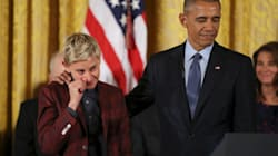 Ellen DeGeneres Wipes Away Tears As Obama Lauds Her For Breaking
