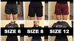 Woman Poses In Varying Pants Sizes To Make A Point About Body