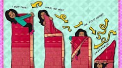 8 Thoughts Every Woman Has While Tying A Sari For The First