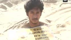 Buried Neck Deep In Sand, Chennai Protestor Among Thousands Camping At Marina Beach's Growing Jallikattu