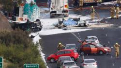 Petrol Tanker Rolls, Crushes Car On Melbourne