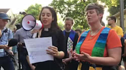 Pastor Ashley Harness Speaks At Rally For Justine