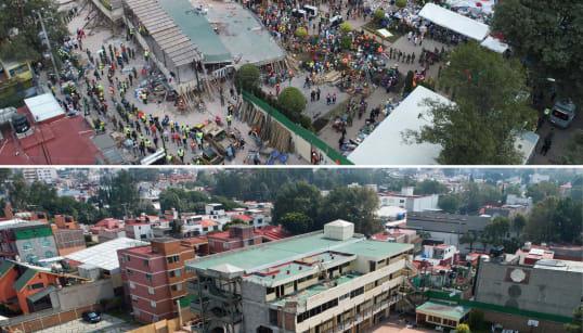 11 fotos aéreas que mantienen en pie los estragos del sismo un año