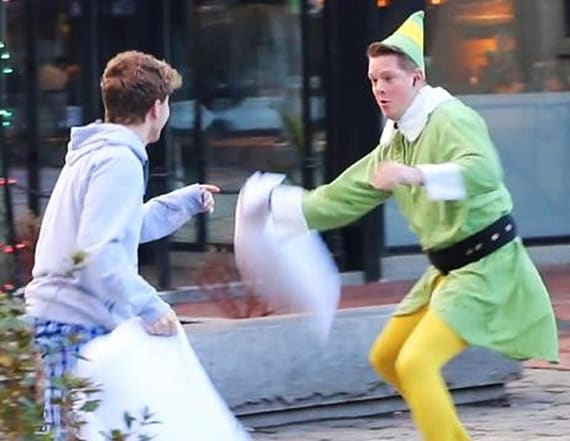 'Buddy the Elf' starts pillow fights on the street