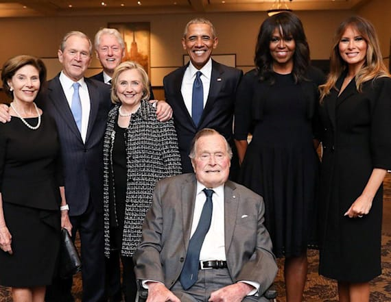 Ex-presidents, first ladies pose for rare photo