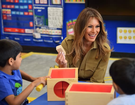 Melania Trump mobbed by students at surprise visit