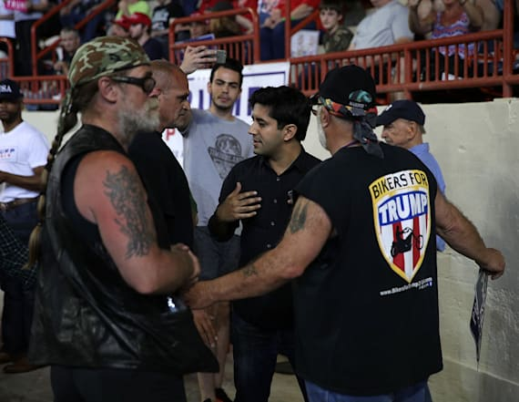 Trump rally-goer 'shoved up against the wall'