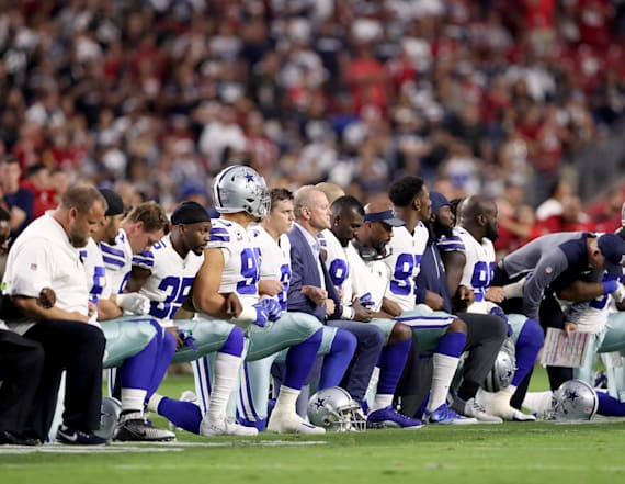 Entire Dallas Cowboys team kneeled prior to game