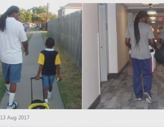 Photo of father walking son to school goes viral