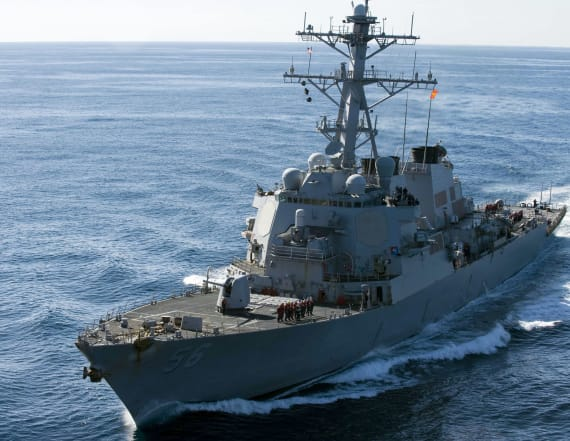US warship collides with merchant vessel