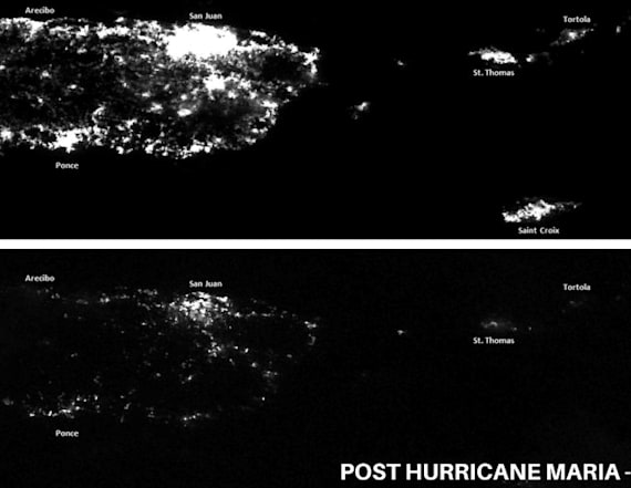Satellite photos show Puerto Rico in darkness