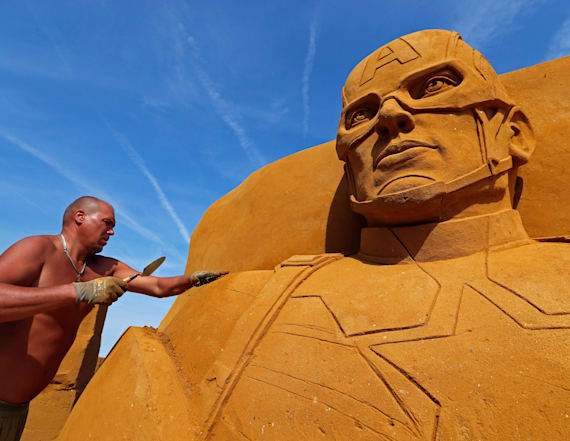 Sand sculpture festival brings superheroes to life