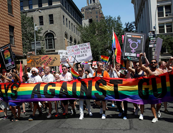 New York Pride marchers target Trump