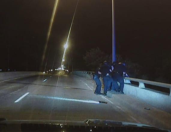 Dashcam video shows officiers saving suicidal man