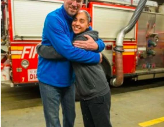 Woman reunited with firefighter who saved her life