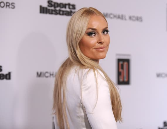 Lindsey Vonn goes braless in plunging pantsuit