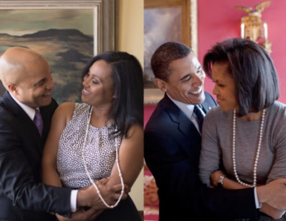Couple stages Obama-themed engagement shoot