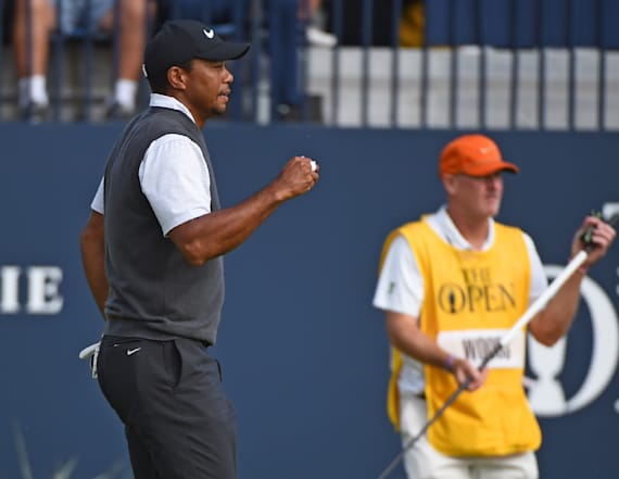 Tiger Woods roars ahead at the British Open