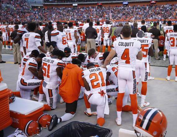 Large group of Browns kneel during national anthem