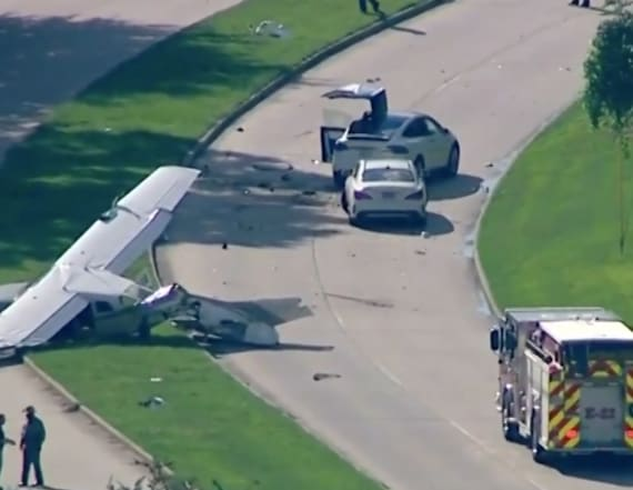 DEA plane collides with Tesla during crash landing