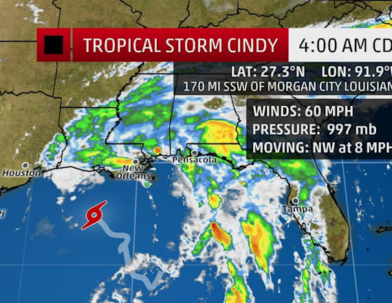 Tropical Storm Cindy strengthens over Gulf of Mexico