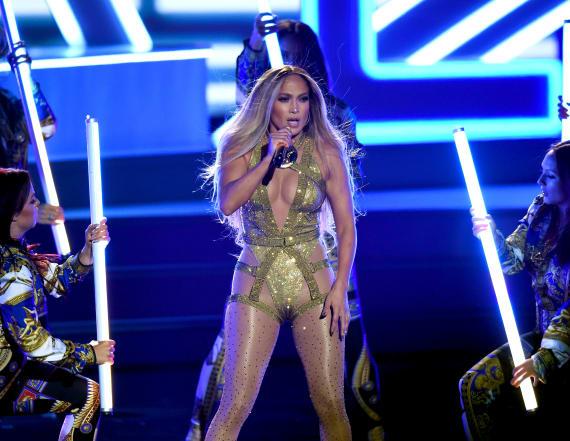 Jennifer Lopez takes a tumble during show