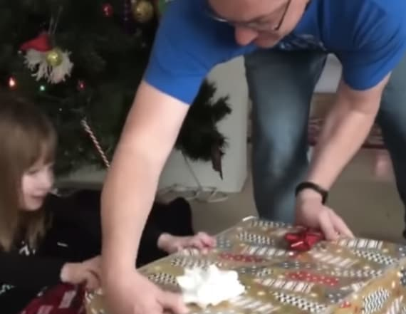 Sneaky cat ruins little girl's Christmas surprise