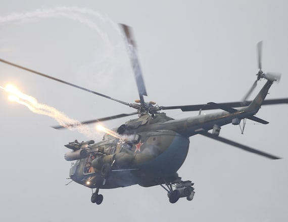Helicopter mistakenly fires on vehicles at war games