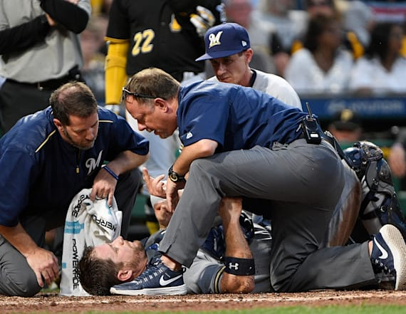 MLB catcher injured in brutal home plate collision