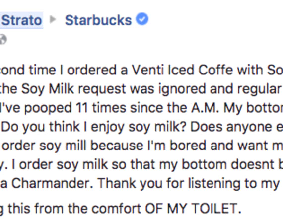 Man's hilarious grievance with Starbucks goes viral