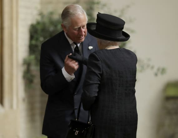 Prince Charles comforts his mother at funeral
