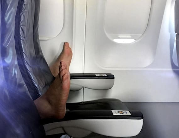 Photo of plane passenger's feet goes viral
