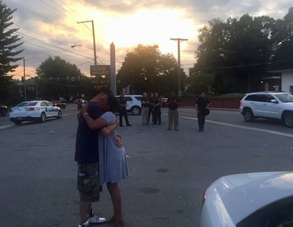 Photo of monument guard hugging protester goes viral
