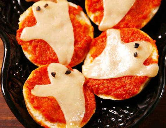 Ghost pizza bagels are what your kids need