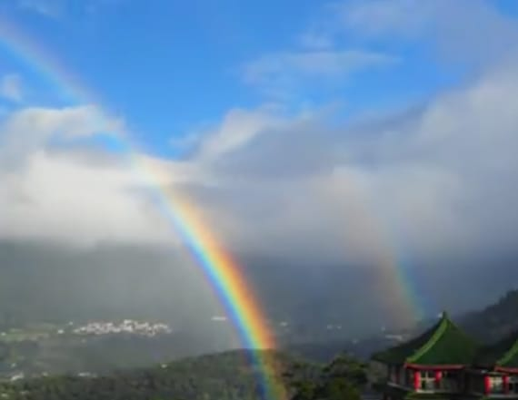 Videos show rainbow arching over Taiwan for 9 hours