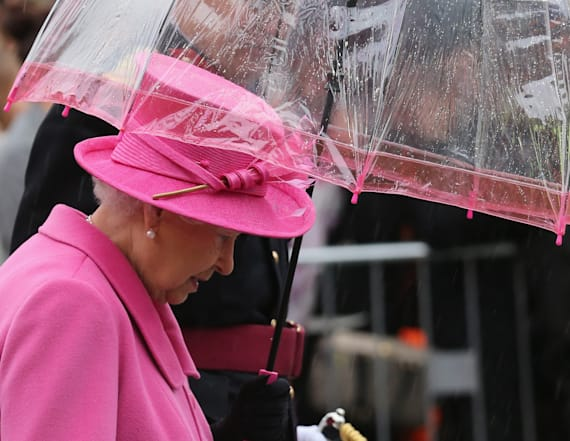 Queen has a matching umbrella for each outfit