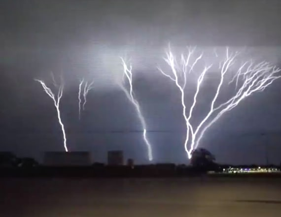 Rare 'upward lightning' sets sky ablaze